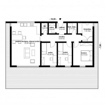 Půdorys dřevostavby - DESIGN bungalow 2 - 1NP