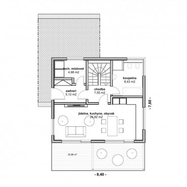 Půdorys dřevostavby - DESIGN 1 - 1NP