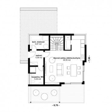Půdorys dřevostavby - DESIGN 1 100 - 1NP
