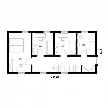 Půdorys dřevostavby - DESIGN 3 - 2NP
