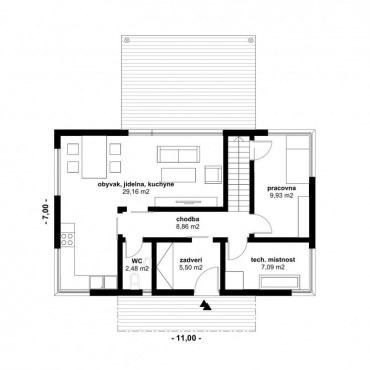 Půdorys dřevostavby - DESIGN 5 - 120m2 1NP