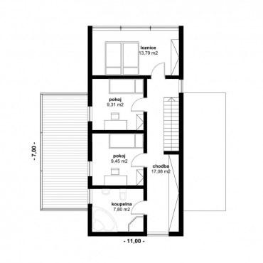 Půdorys dřevostavby - DESIGN 5 - 120m2 2NP