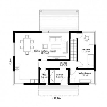 Půdorys dřevostavby - DESIGN 5 - 130m2 1NP