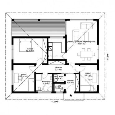 Půdorys dřevostavby - KLASIK bungalow 3 - 1NP