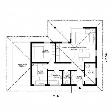 Půdorys dřevostavby - KLASIK bungalow 1 - 80m2 - 1NP