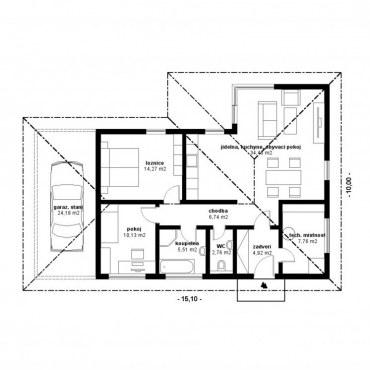 Půdorys dřevostavby - KLASIK bungalow 1